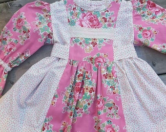 Pretty in Pink Little Girls Dress,Bonnet & Bloomers