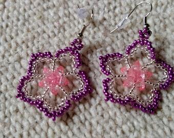Purple silver pink flowers beaded earrings
