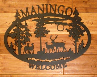 Custom Metal Personalized Name Welcome Address Wedding Date Oval Sign With Wildlife Silhouette Scene with Elk Family and Trees