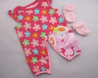 Adorable Pink Jumper for a Bitty Baby or other similarly sized doll. So cute! Made from upcycled baby outfit. Includes matching socks.