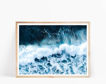 ocean art print ocean digital poster ocean waves art coastal