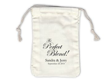 The Perfect Blend Personalized Cotton Bags for Coffee or Tea Wedding Favors in Black - Ivory Fabric Drawstring Bags - Set of 12 (1020)