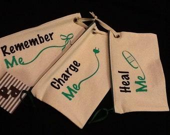 Travel Bag Trio, Green print - CUTE COLLECTION . Organize.