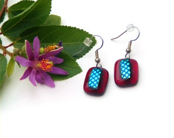41 Fused dichroic glass earrings, red transparent, black and yellow green dots, rectangle, dangles