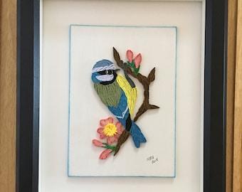 Quilled Bluetit - Framed Bird Art