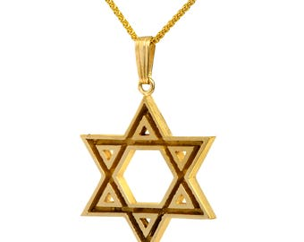 Classic 14K Yellow Gold Star Of David Judaica Bold Pendant Mens Jewelry