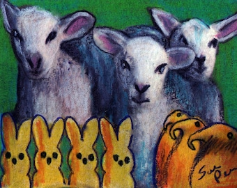 original art  aceo drawing spring lambs sheep bunny chick peeps Easter