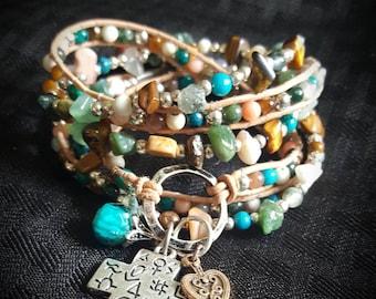 Handmade Beaded Leather WRAP Bracelet