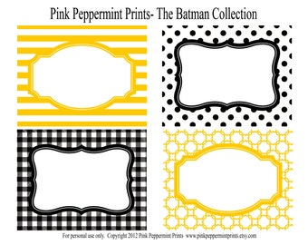 NEW INSTANT DOWNLOAD The Holy Smokes Batman Collection Party Labels