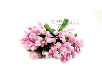 Light Pink Pip Berry Stems 1 inch - Pip Berries, Berry Stamen, Pip Berry Wreath, Flower Making, Flower Stamens, Artificial Berries, Pip