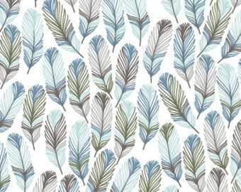Feather Crib Sheet - Changing Pad Cover / Blue Gray Nursery /Feather Baby Bedding /Boho Crib Bedding / Mini Crib Bedding / Mini Crib Sheets