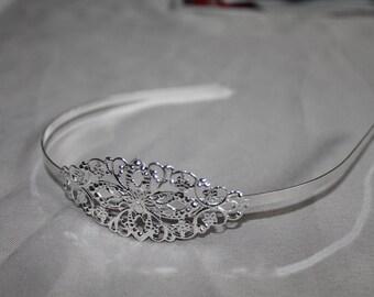 Silver metal filigree headband - print