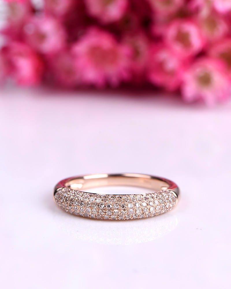 Elegant diamond engagement ring diamond wedding band 14k rose