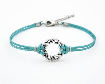 Silver Twine Ring Bracelet, Aqua Blue Bracelet,  Braided Circle Bracelet, Twist Karma Bracelet, Waxed Cord Bracelet