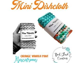 Orange Vanilla Mint Macaroon Crochet Kitchen Dishcloth, Crochet Mini Cloths, Mini Dishcloths, Ready to Ship