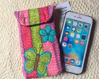 Medium Size Phone case, Quilted case, iphone, Smart phone case, Gadget case, phone pouch, iPhone bag,eyeglass, cell phone case 6#34