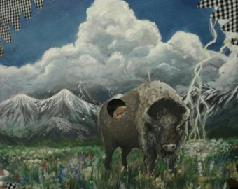 Buffalo painting on saw blade