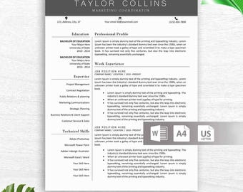 Professional and Modern Resume Template for Word, Creative Resume Design, CV Template for Word, Professional CV, Instant Download Resume
