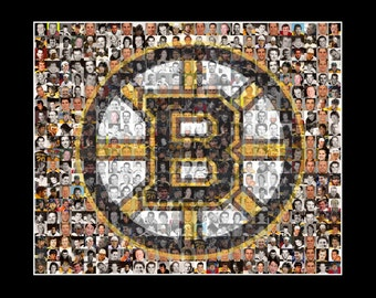 Boston Bruins Mosaic Print Art Created Using Past and Present Bruins Player Photos. Free Shipping
