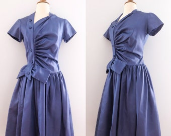 1940s Satin Blue Drop-Waist Dress // 40s Bow A-Line Gown