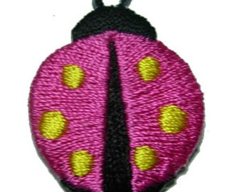 Pink & Yellow Ladybirds Iron On Appliques x 5
