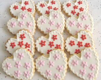Sweet Heart Cookies - Heart decorated Cookies - Valentines Day Cookies - Heart Wedding Favors - Wedding Heart Cookie Favors - 1 Dozen