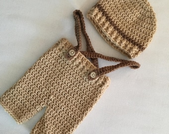 RTS 0 to 3 Months Baby Beanie Hat & Shorts with Suspenders Set - Tan, Brown