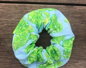 Lime Blue Scrunchie