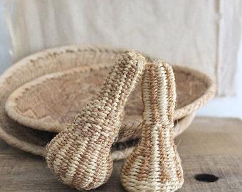 Vintage decorative natural fiber woven rattles