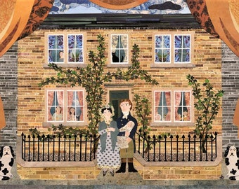 Bronte Sisters Greeting Card·Paper Collage·Family Home·New Baby·Writers Houses·Brontë Birthplace·Dogs·Children·Folk Art·Amanda White Design