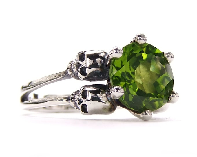 Double Skull Engagement Ring with Natural Green Peridot in Sterling Silver - All Sizes