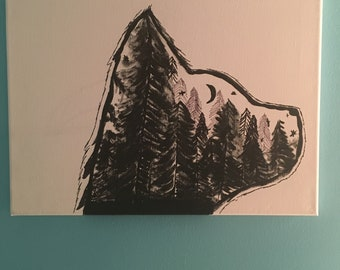 Black and white canvas wolf painting