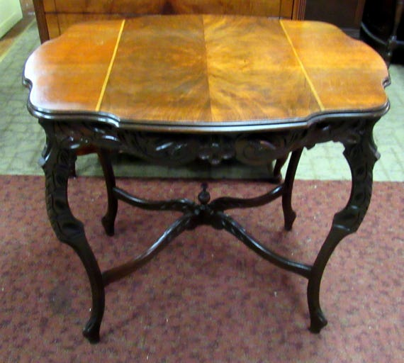Vintage lamp table with burl wood and carved detail