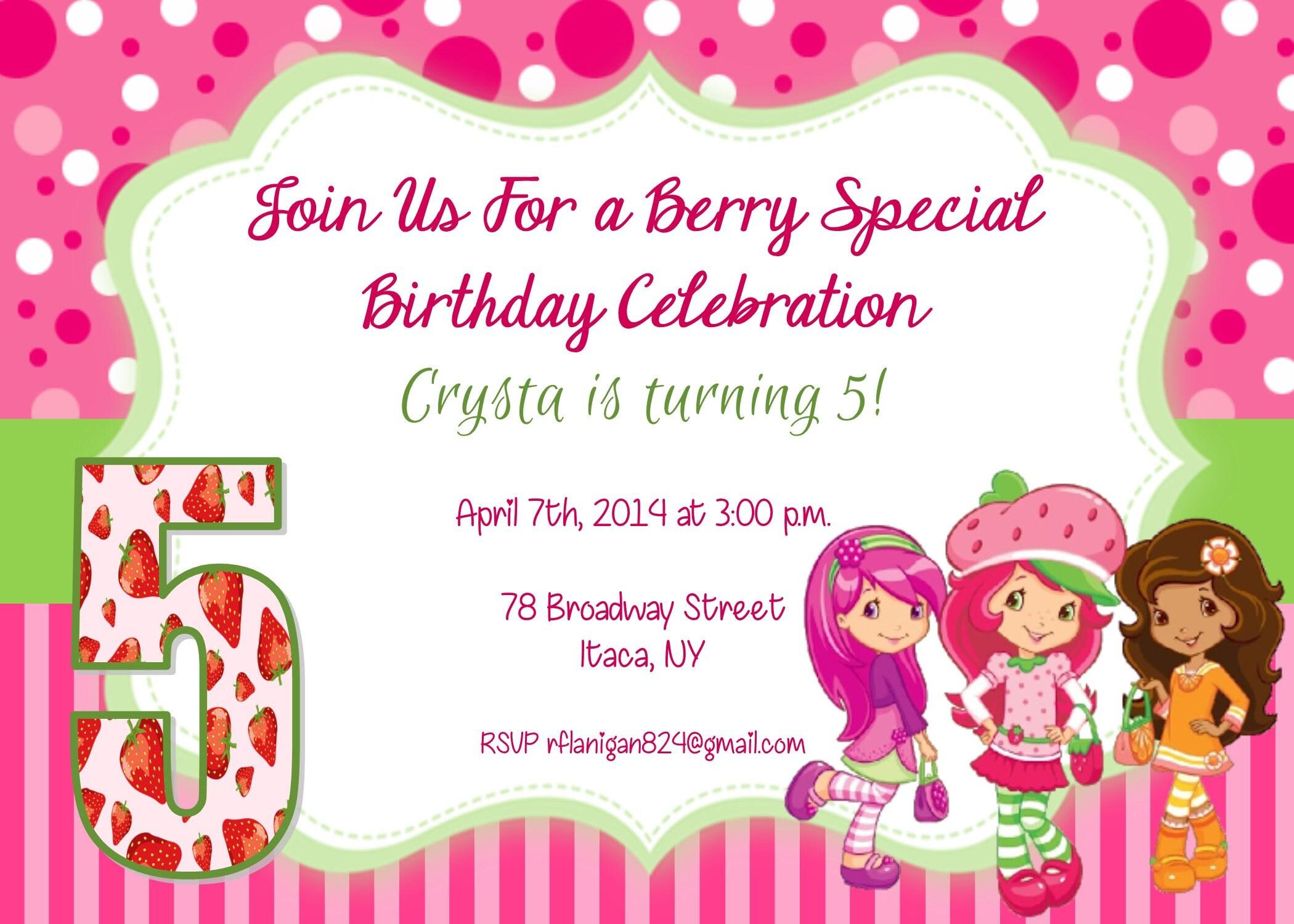 Girls Strawberry Shortcake Printable Birthday Party Invitation