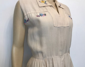 1940s vintage linen make do and mend summer dress with hand embroidered flower details