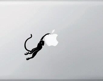 """MB - Monkey Swinging D1 - Macbook or Laptop Decal - Copyright © 2015 Yadda-Yadda Design Co. (2.75""""w x 3""""h) (BLACK)"""