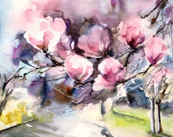 Magnolia Pink Flowers Original Watercolor Painting, Magnolia blooming branches painting, floral botanical painting