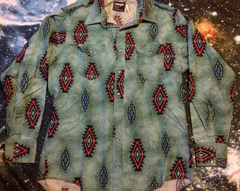 Vintage Wrangler Button Up Pearl Snap Turquoise Cowboy Shirt
