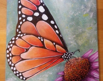 monarch butterfly acrylic on canvas hand painting ooak orange green pink purple