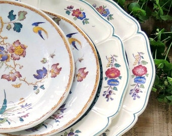Mismatched Wedgwood Plates Set of 4 Vintage Salad Bread and Butter Plates English Multicolor Transferware  Tea Party