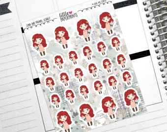 """SCARLET - """"I Love My Coffee!"""" Decorative Planner Stickers from the Little Luna and Friends Collection Series"""
