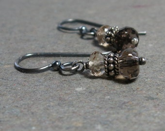 Smoky, Champagne Quartz Earrings Brown Gemstones Oxidized Sterling Silver