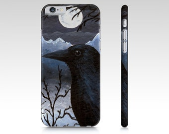 Crow Cell Phone Case Bird 58 Crow Raven Moon - Iphone 7, 6/6s, Plus, 5/5s, Samsung Galaxy S5, S4, S3 art by L.Dumas