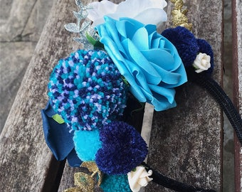 Sea blue floral pompom headband