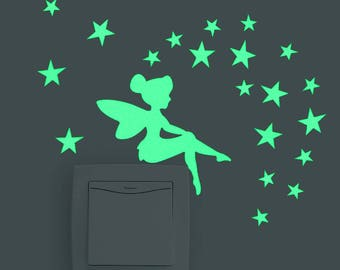 Tinker Bell Switch Light - Home Decor - Great for Any Room Picture Portrait Basic Sticker Vinyls Bedrooms Decals Glow in the Dark