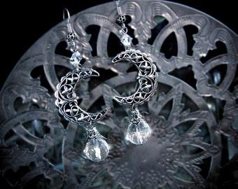 Silver Crescent Moon Earrings, faceted quartz, filigree moons, pagan earrings, wiccan earrings, bohemian earrings, boho, tribal fusion