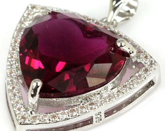 Sterling Silver Pink Tourmaline Gemstone Pendant With AAA CZ Accents