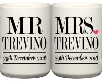 Set of Wedding Date Mugs Mr. & Mrs. - Wedding Date