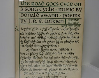 """Middle Earth Songs """"The Road Goes Ever On"""" 1978 JRR Tolkien British Second Edition Bilbo's Last Song Vintage Hardcover Enchanting Music Folk"""