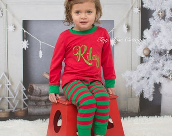 Family Christmas Pajama Set embroidered - personalized with Name